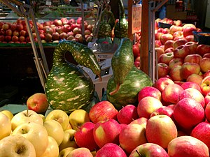 "Granville Island - Apples and calabash ""geese"", Granville Island Public Market, 2011."