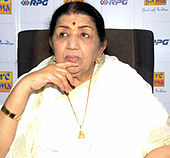 Lata Mangeshkar looking away from camera