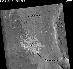 Noachian - HiRISE image illustrating superpositioning, a principle that lets geologists determine the relative ages of surface units. The dark-toned lava flow overlies (is younger than) the light-toned, more heavily cratered terrain (older lava flow?) at right. The ejecta of the crater at center overlies both units, indicating that the crater is the youngest feature in the image. (See schematic cross section, right.)