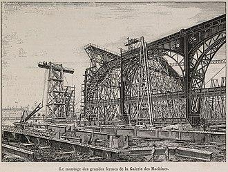 Galerie des machines - Image: Le montage des fermes de la Galerie des machines