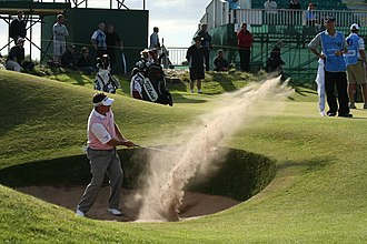 Lee Westwood - Westwood making a bunker shot at the 2008 Open