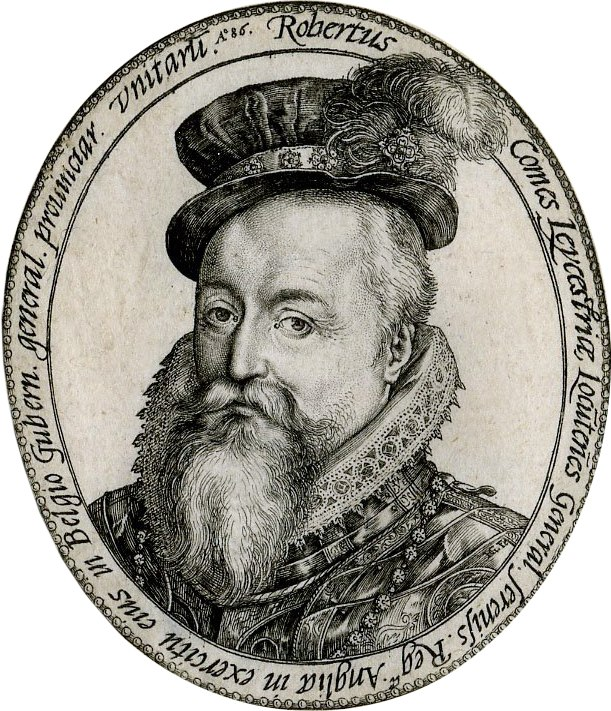 Leicester as Governor-General engraving by Goltzius