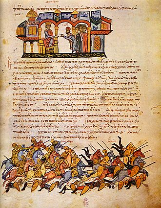Stylianos Zaoutzes - From the Madrid Skylitzes: Emperor Leo VI receives a Bulgarian embassy (top); the Bulgarian victory at Bulgarophygon in 896 (bottom). The account of the Vita Euthymii holds Zaoutzes and his corrupt clients responsible for the outbreak of the war, which saw several heavy Byzantine defeats.