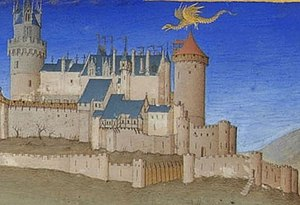 La magicienne - Melusine depicted in the Très Riches Heures as a winged serpent flying over the Château de Lusignan (15th century)