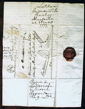Charles de Salis - Letter from Charles to his father, 1771
