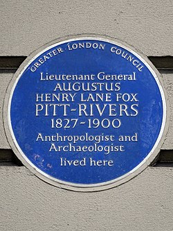 Lieutenant general augustus henry lane fox pitt rivers 1827 1900 anthropologist and archaeologist lived here