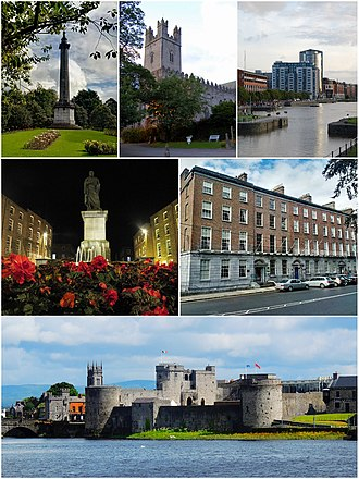 Limerick - From top, left to right: People's Park, St. Mary's Cathedral, Riverpoint, Daniel O'Connell Monument, Georgian architecture at Pery Square, King John's Castle