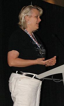 Lisa Stevens on August 13, 2009, at the Gen Con ENnies awards show