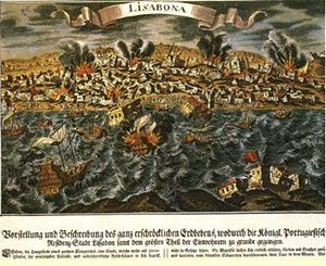 1755 Lisbon earthquake - A depiction of the 1755 Lisbon earthquake as seen from across the Tagus River.