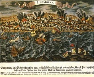1755 Lisbon earthquake - A depiction of the 1755 Lisbon earthquake as seen from across the Tagus River