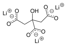 2D chemical structure of lithium citrate