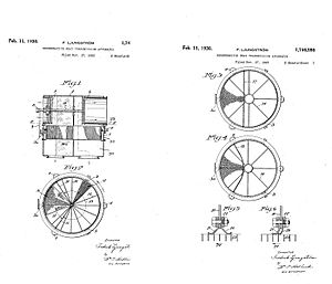 Regenerative heat exchanger -  Patent drawings for a rotary regenerator, illustrating the drum-shaped matrix and the seals that prevent mixing of the streams.