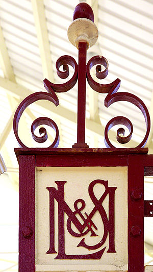 London, Midland and Scottish Railway - LMS monogram at Llandudno Station