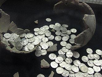 Llanvaches - Hoard of Roman denarii found at Llanvaches in 2006