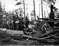 Loading crew and donkey engine, Wynooche Timber Company, near Montesano, ca 1921 (KINSEY 1604).jpeg