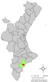 Localización de Muchamiel respecto a la Comunidad Valenciana