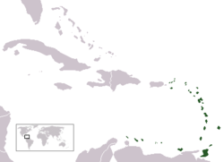 Location of the Lesser Antilles (green) in relation to the rest of the Caribbean