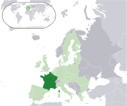 Location of  Metropolitan France  (dark green) – on the European continent  (light green & dark grey) – in the European Union  (light green)  —  [Legend]