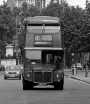 London Buses route 1 - AEC Routemaster on The Strand in June 1981