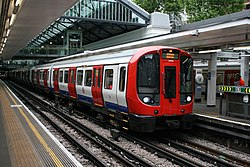 London Underground S7 Stock 21329 on District Line, Earl's Court (18280510331).jpg