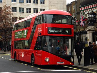 London Buses route 9 - London United New Routemaster at Charing Cross station in December 2013