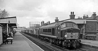 British Rail Class 44 - D5 Cross Fell at Long Eaton with a trian of 16tonne mineral wagons, May 1962.