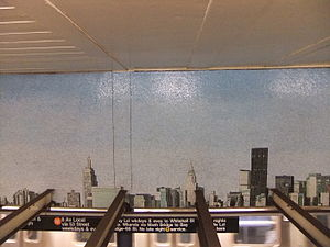 Queens Plaza (IND Queens Boulevard Line) - Look Up Not Down, Glass Mosaic, Ellen Harvey (2005)