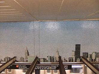 Queens Plaza (IND Queens Boulevard Line) - Look Up Not Down, Glass Mosaic, Ellen Harvey (2005)