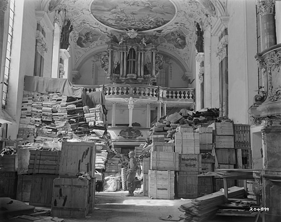 German loot stored at Schlosskirche Ellingen, Bavaria (April 1945) Looted Art - German loot stored at Schlosskirche Ellingen - Ellingen (Bavaria - Germany).jpg