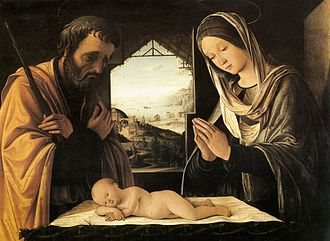 Lorenzo Costa - Holy Family by Lorenzo Costa, at the Musée des Beaux-Arts, Lyon