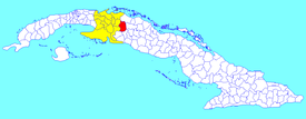 Los Arabos municipality (red) within  Matanzas Province (yellow) and Cuba