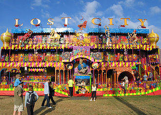 Funhouse - Lost City - a large traveling funhouse that unpacks from two articulated trailers