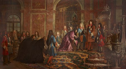 Louis receiving the Doge of Genoa at Versailles on 15 May 1685, following the Bombardment of Genoa. (Reparation faite a Louis XIV par le Doge de Genes. 15 mai 1685 by Claude Guy Halle, Versailles.) Louis14-Versailles1685.jpg