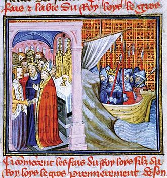 Eleanor of Aquitaine - At left, a 14th-century representation of the wedding of Louis and Eleanor; at right, Louis leaving on Crusade.