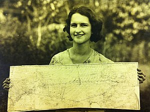 Dieudonné Costes - Photo of Louise Stef holding the map that fell from the Point d'Interrogation taken on September 30th, 1930 in Portsmouth, NH on her family's farm.