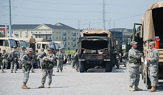 256th Infantry Brigade Combat Team (United States) - Members of the 256th IBCT stage their vehicles in Lot J next to the Ernest Morial Convention Center. These soldiers are activated for security missions in support of hurricane operations throughout the state.