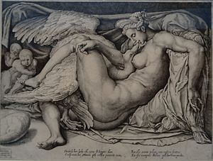 Cornelis Bos - Image: Louvre Lens L'Europe de Rubens 125 Léda et le cygne
