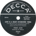 Love Is a Many-Splendored Thing by Four Aces featuring Al Alberts US vinyl 10-inch 78-RPM.png