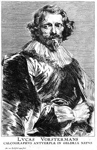 Lucas Vorsterman - Portrait of Lucas Vorsterman, engraving by Anthony van Dyck for his Iconography