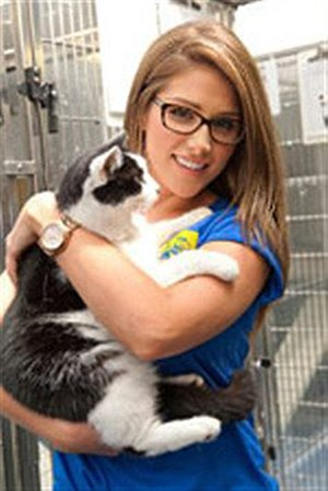 Lucy Pinder - Lucy Pinder volunteering at Cats Protection, 2012