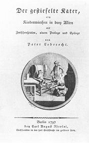 Der gestiefelte Kater, Titelblatt der Erstausgabe 1797 (Quelle: Wikimedia)