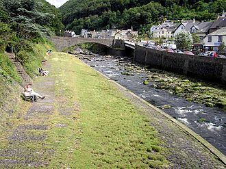 Lynmouth - The meeting of the Lynmouth rivers. The river seen here is the East Lyn River, the West Lyn River joins it at the white bridge.