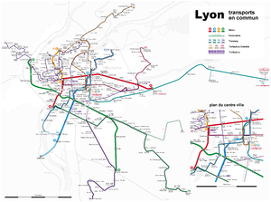 Transports en commun lyonnais - Actual Network of public transports in Lyon.