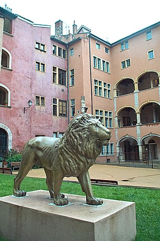 Lyon - The lion, symbol of the city, on display at Maison des avocats