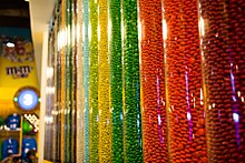All assorted M&M candies in tubes at signature shop in New York