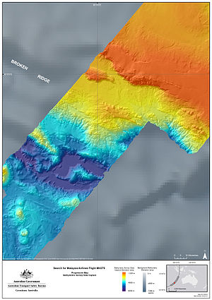 Search for Malaysia Airlines Flight 370 - Data obtained from the baseline bathymetric survey (coloured) contrasted with previously-available satellite data (grey).
