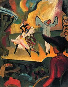 painting of a ballet performance on stage