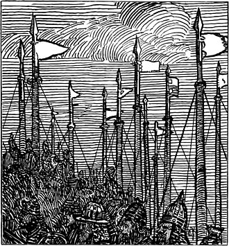"Lǫgmaðr Guðrøðarson - The illustration depicts Magnús' troops setting forth from their ships at sunrise. Lǫgmaðr too appears in traditional ballads as Laomunn Mór (and variously designated Mac Coineal, Laomunn mór mac an Nuamhfhir, mac Righ nuaidh, and Laomunn mac Roidh). In one ballad, this character is described as: ""A hero who put Alba under tribute / By the strength of his two hands and his feats""."