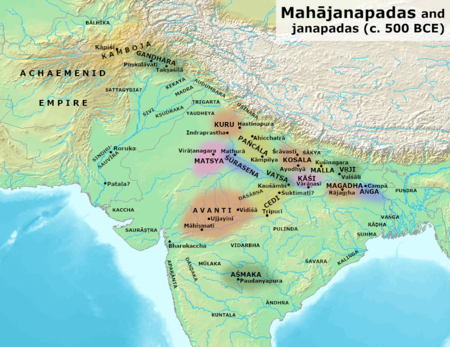 Ancient kingdoms and cities of India during the time of the Buddha (circa 500 BCE) Mahajanapadas (c. 500 BCE).png