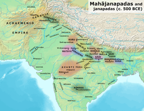 Ancient kingdoms and cities of India during the time of the Buddha (circa 500 BCE). Mahajanapadas (c. 500 BCE).png